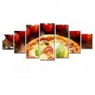 Tablou 7 piese, dualview, 7MULTICANVAS095, Pizza, panza + lemn de brad, 100 x 240 cm