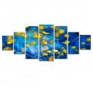 Tablou 7 piese, dualview, 7MULTICANVAS098, Flori galbene, panza + lemn de brad, 100 x 240 cm