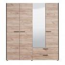 Dulap dormitor Denis 4K2FO, stejar gri, 4 usi, cu oglinda, 186.5 x 54 x 205.5 cm, 4C