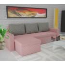 Coltar living extensibil pe stanga / dreapta Amadeo, cu lada, roz + gri, 247 x 148 x 69 cm, 3C