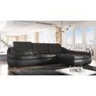 Coltar living extensibil pe stanga Dallas, cu lada, negru + gri, 295 x 192 x 86 cm, 2C