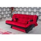 Canapea extensibila 3 locuri Lale, cu lada, rosu + negru, 182 x 96 x 95 cm, 1C