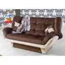 Canapea extensibila 3 locuri Lale, cu lada, maro + crem, 182 x 96 x 95 cm, 1C