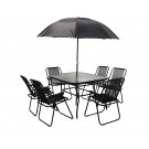 Set masa cu 6 scaune + umbrela pentru gradina AT-040 din metal cu textilen
