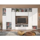 Biblioteca living Lana, gri A480 + alb lucios, 332 cm, 6C