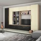 Biblioteca Neo stejar bardolino + negru lucios + crem lucios 350 cm 6C