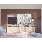 Biblioteca living Agora, stejar bardolino + alb + maro + print P20, 349 cm, 7C
