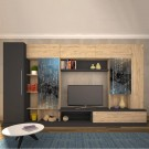 Biblioteca living Storm P4, sherwood + gri, 352 cm, 5C