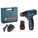 Masina de gaurit / insurubat  Bosch  Professional GSR 120-LI, cu 2 acumulatori, 12  V, 1.5 Ah