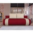 Canapea extensibila 3 locuri Ianis, cu lada, rosu + crem, 190 x 92 x 86 cm, 1C
