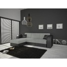 Coltar living extensibil pe stanga / dreapta Anca, cu lada, negru + gri, 159 x 235 x 78 cm 2C