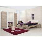Dormitor complet Dante, stejar gri + alb, 4 piese, 10C