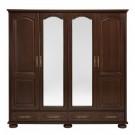 Dulap dormitor Berry, nuc, 4 usi, cu oglinda, 196.8 x 60 x 196.5 cm, 4C