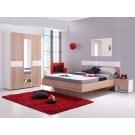Dormitor complet Felix, stejar sonoma + alb lucios, 4 piese, 6C