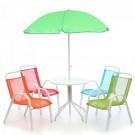 Set terasa pentru copii masa si 4 scaune + umbrela