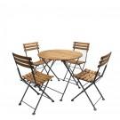 Set masa cu 4 scaune pentru gradina FST009/2 din metal cu lemn
