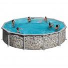 Piscina cu cadru metalic Manufacturas Gre 460P, rotunda, decoratiune piatra, cu pompa de filtrare, 460 x 120 cm