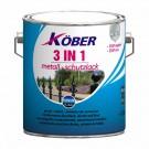 Vopsea alchidica pentru metal Kober 3 in 1, interior / exterior, neagra, 2.5 L