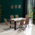 Set masa extensibila cu 6 scaune tapitate Viva, bucatarie, maro, 3C