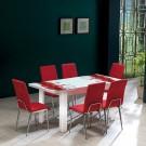 Set masa extensibila cu 6 scaune tapitate Viva, bucatarie, bordo, 3C