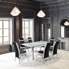 Set masa extensibila cu 6 scaune, bucatarie, Olimpia, negru + alb, 3C