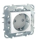 Priza simpla Schneider Electric Unica MGU50.037.18Z, incastrata, contact de protectie, alba