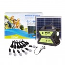 Sistem solar cu panou fotovoltaic 30W + generator 12V / 17Ah + 6 x bec LED Trivas, USB / radio / lanterna