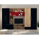 Biblioteca living Rossena, stejar bardolino + negru + rosu, 335 cm, 5C