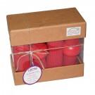 Set decorativ Caressa PNBX 0004, 12 piese, bumbac, rosu