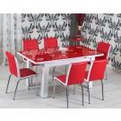 Set masa extensibila cu 6 scaune bucatarie R344 rosu + alb 3C