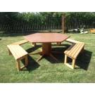 Set masa cu 5 banci pentru gradina Dafios din lemn