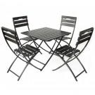 Set masa cu 4 scaune pentru gradina Corso din metal cu lemn