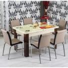 Set masa extensibila cu 6 scaune, bucatarie, R344, crem + capuccino, 3C