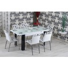 Set masa+6 scaune alb/negru R344 3C