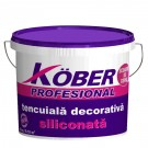 Tencuiala decorativa siliconica Kober Profesional, structurata, aspect scoarta de copac, alb, interior / exterior, 25 kg