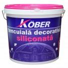 Tencuiala decorativa siliconata Kober Profesional, 1.5 mm, structurata, aspect scoarta de copac, alb, interior / exterior, 25 kg