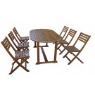 Set mobilier gradina masa ovala si 6 scaune