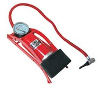 Pompa de picior cu manometru fp0201, 1 cilindru, rosie