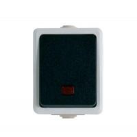 Intrerupator antigron simplu cu indicator luminos Unitec 46242L, aparent, alb