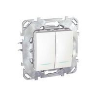 Intrerupator dublu cu indicator luminos Schneider Electric Unica MGU50.0101.18NZ, incastrat, alb