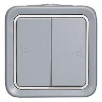 Intrerupator cap scara dublu Legrand Plexo 069715, aparent, rama inclusa, gri, IP55