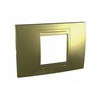 Rama Schneider Electric Unica Allegro MGU4.102.64, 2 module, auriu, pentru priza / intrerupator