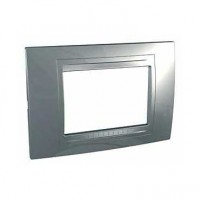 Rama Schneider Electric Unica Allegro MGU4.103.60, 3 module, argintiu mat, pentru priza / intrerupator