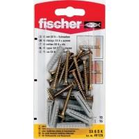 Diblu universal, din nylon, cu surub, cap inecat, Fischer SX, 6 x 30 mm, set 15 bucati