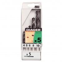 Burghie pentru lemn, Diager 9004 - 10 mm, set 5 bucati