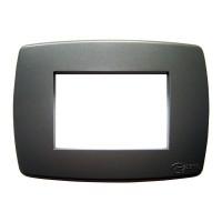 Rama Esperia 300555-08, 3 module, gri sablat, pentru priza / intrerupator
