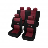 Huse auto pentru scaun, Petex, Carbon Red, negru + rosu, set 11 piese