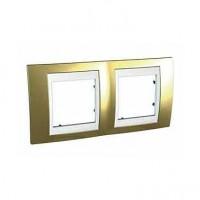 Rama Schneider Electric Unica MGU66.004.804, 2 posturi, auriu / alba, pentru priza / intrerupator