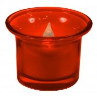 Candela LED CDG 1/RD in suport de sticla rosie, alimentare baterii