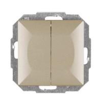 Intrerupator dublu cu indicator luminos Abex Perla WP-2P/S SA, incastrat, satin